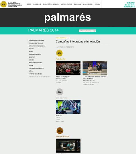 Palmarés 2014 Festival Iberoamericano de la Comunicación Publicitaria 2014